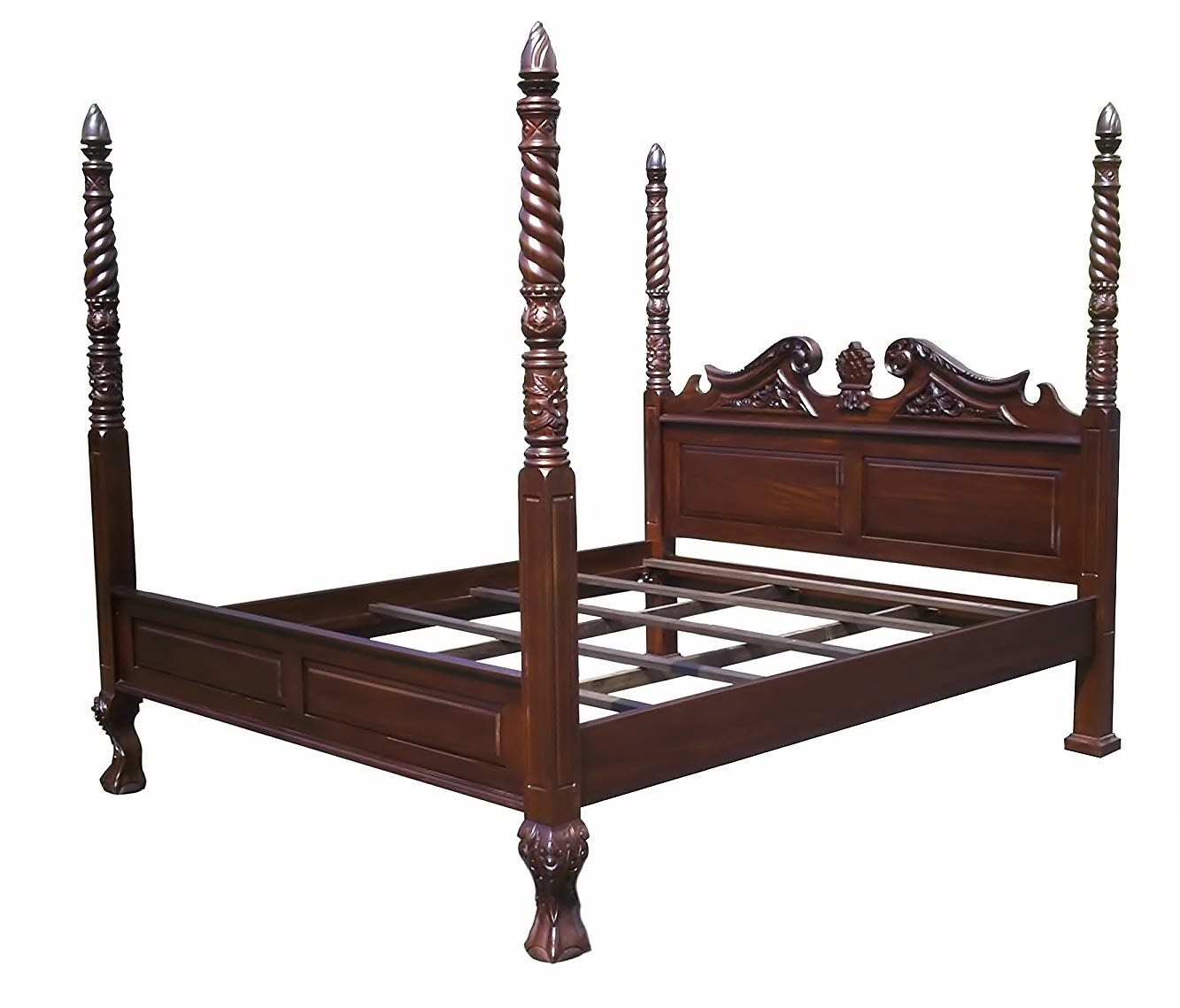 D ART COLLECTION England 4 Poster Bed in Real Mahogany Wood