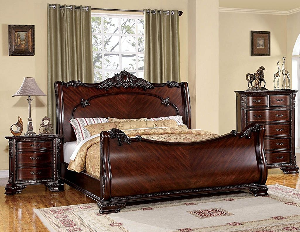 Furniture of America Clairmonte Baroque Style Sleigh Bed