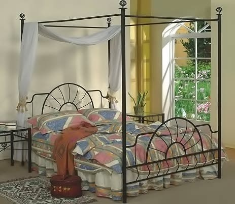 Poundex Canopy Metal Bed Headboard and Footboard
