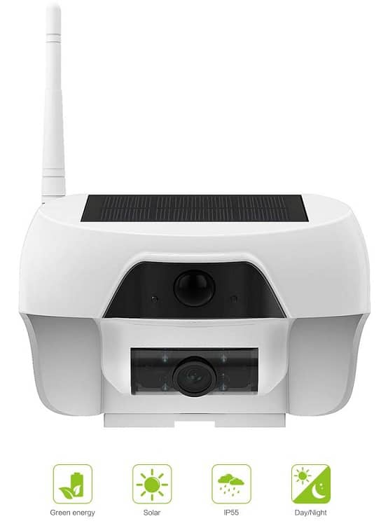 Freecam solar panel security camera with rechargeable battery