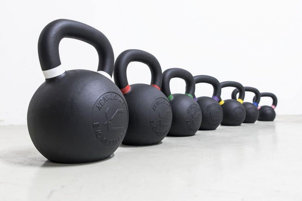 Cast Iron Kettlebells with double handed exercises