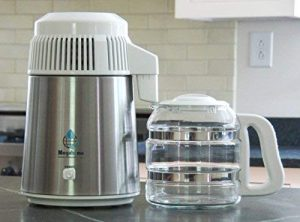 Megahome Water Distiller, Stainless and White, Glass Bottle