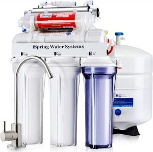 iSpring RCC7AK-UV 7-Stage Under-Sink Reverse Osmosis Drinking Water Filtration System with Alkaline Remineralization Filter and UV Sterilizer
