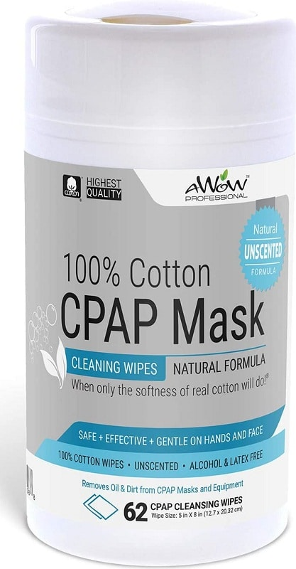 AWOW Professional Unscented 100% Cotton CPAP Mask Cleaning Wipes