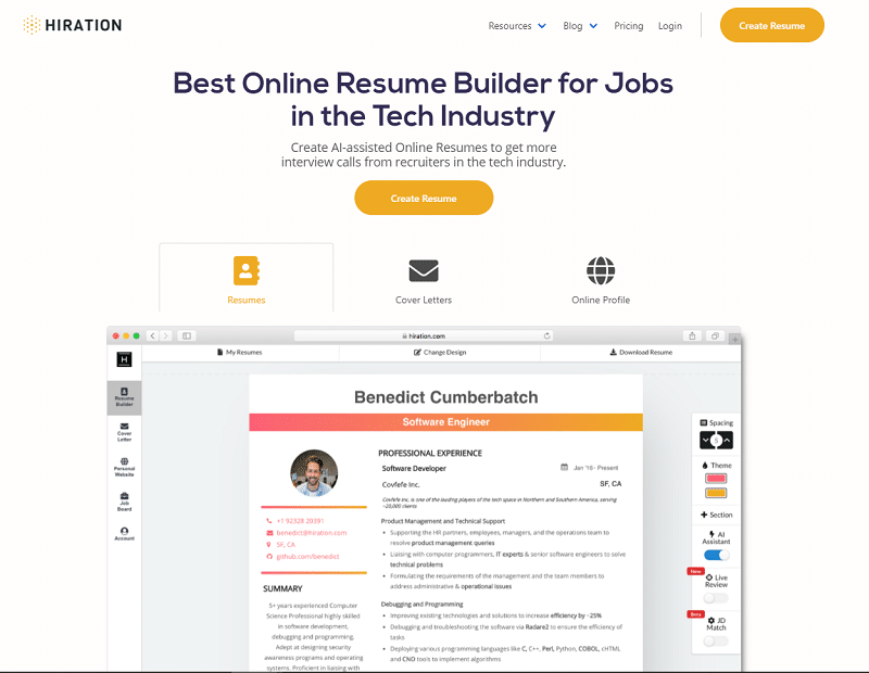 Hiration Online Resume Builder Review