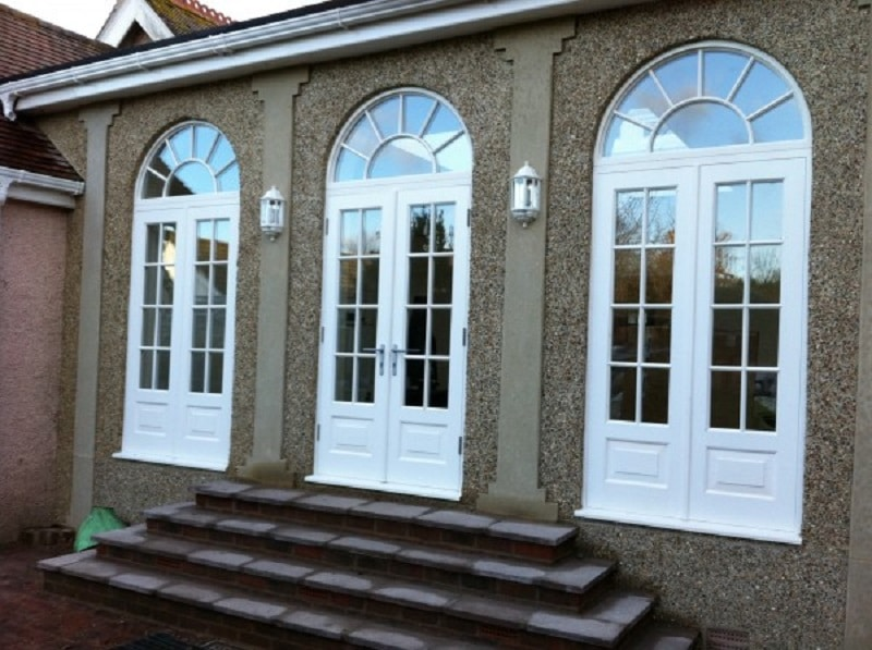 French front doors with arched window