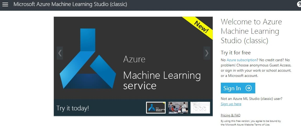 Azure machine learning studio Home Page