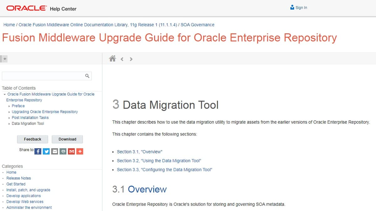 Oracle Data Migration Utility
