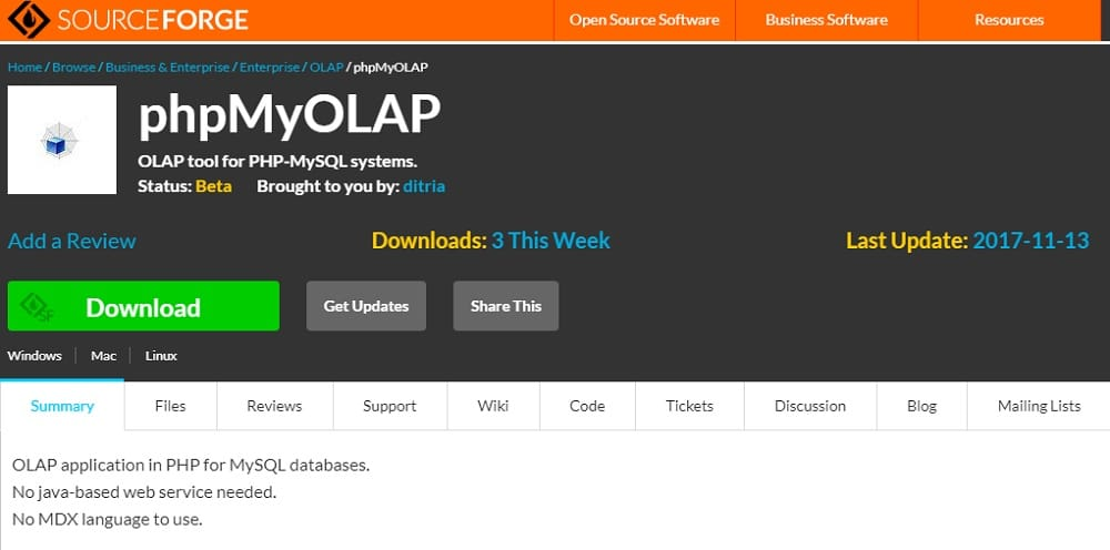 Phpmyolap - OLAP tool for PHP-MySQL systems